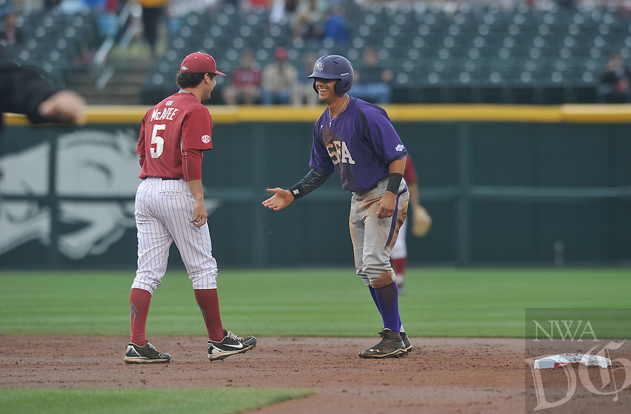 NWA Democrat-Gazette/Michael Woods --04/14/2015--w@NWAMICHAELW...  University of Arkansas vs Stephen F. Austin during Tuesdays baseball game at  Baum Stadium in Fayetteville.