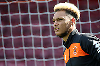Blackpool's Christoffer Mafoumbi during the pre-match warm-up <br /> <br /> Photographer David Shipman/CameraSport<br /> <br /> The EFL Sky Bet League One - Scunthorpe United v Blackpool - Friday 19th April 2019 - Glanford Park - Scunthorpe<br /> <br /> World Copyright © 2019 CameraSport. All rights reserved. 43 Linden Ave. Countesthorpe. Leicester. England. LE8 5PG - Tel: +44 (0) 116 277 4147 - admin@camerasport.com - www.camerasport.com