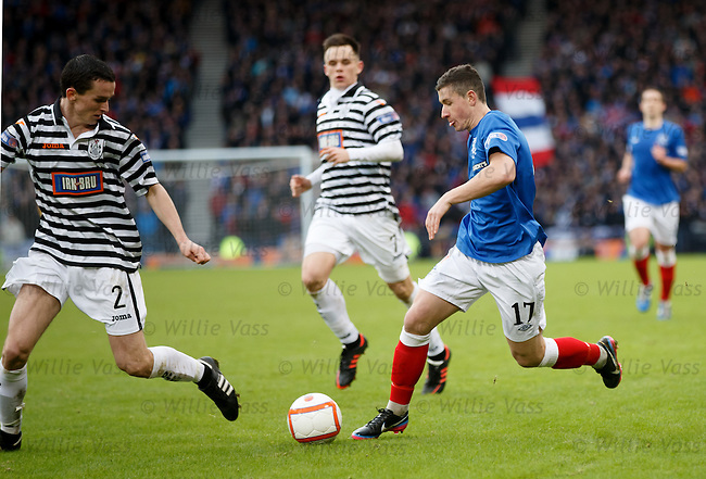 Fraser Aird takes on the Queens defence as he takes the ball into the box