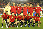 04 June 2008: Spain starting eleven.  Front row (l to r): David Silva (ESP), Xavi (ESP), Cesc Fabregas (ESP), Santi Cazorla (ESP), Carles Puyol (ESP).  Back row (l to r): Iker Casillas (ESP), Carlos Marchena (ESP), Sergio Ramos (ESP), Joan Capdevila (ESP), Xabi Alonso (ESP), Fernando Torres (ESP). The Spain Men's National Team defeated the United States Men's National Team 1-0 at Estadio Municipal El Sardinero in Santander, Spain in an international friendly soccer match.