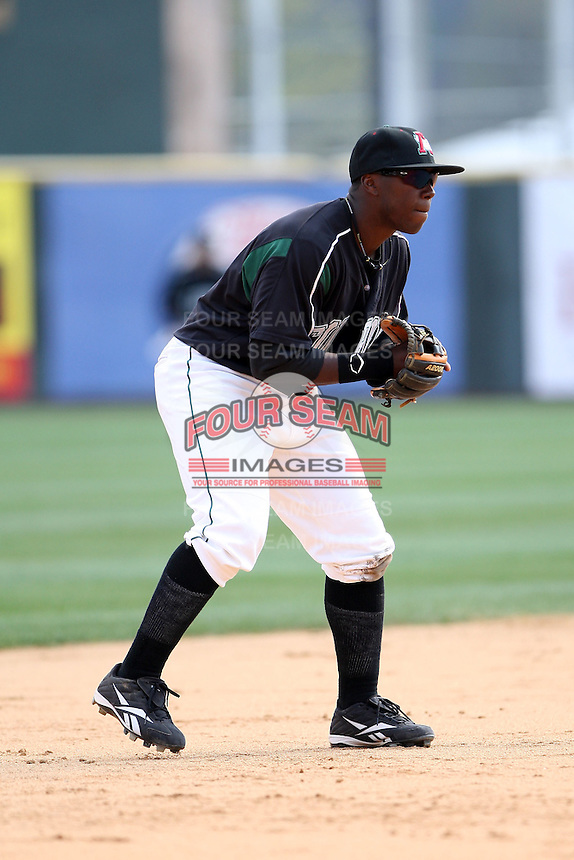 April 11, 2010:  Third Baseman Josh Harrison of the Altoona Curve during a game at Blair County Ballpark in Altoona, PA.  Altoona is the Double-A Eastern League affiliate of the Pittsburgh Pirates.  Photo By Mike Janes/Four Seam Images