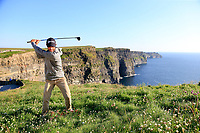 Pedro Figueiredo (POR) caddy at the Cliffs of Moher after Wednesday's Pro Am of the Dubai Duty Free Irish Open 2019, held at Lahinch Golf Club, Lahinch, Ireland. 3rd July 2019.<br /> Picture: Eoin Clarke | Golffile<br /> <br /> <br /> All photos usage must carry mandatory copyright credit (© Golffile | Eoin Clarke)
