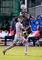 16th July 2020, Orlando, Florida, USA;  New York Red Bulls defender Kyle Duncan (6) and Columbus Crew midfielder Derrick Etienne (22) during the MLS Is Back Tournament between the Columbus Crew SC versus New York Red Bulls on July 16, 2020 at the ESPN Wide World of Sports, Orlando FL.