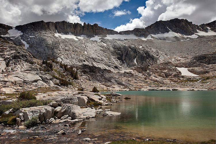 Conness Lakes are turquoise in color due to the glacial melt from Mt Conness' glacier above.  Hoover Wilderness, Calif.