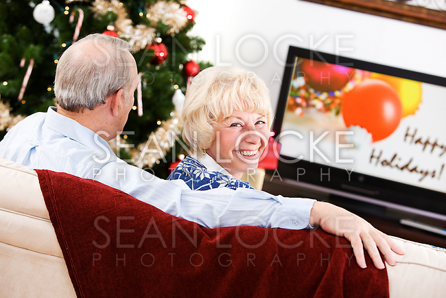 Series with a senior Caucasian couple at Christmas time.