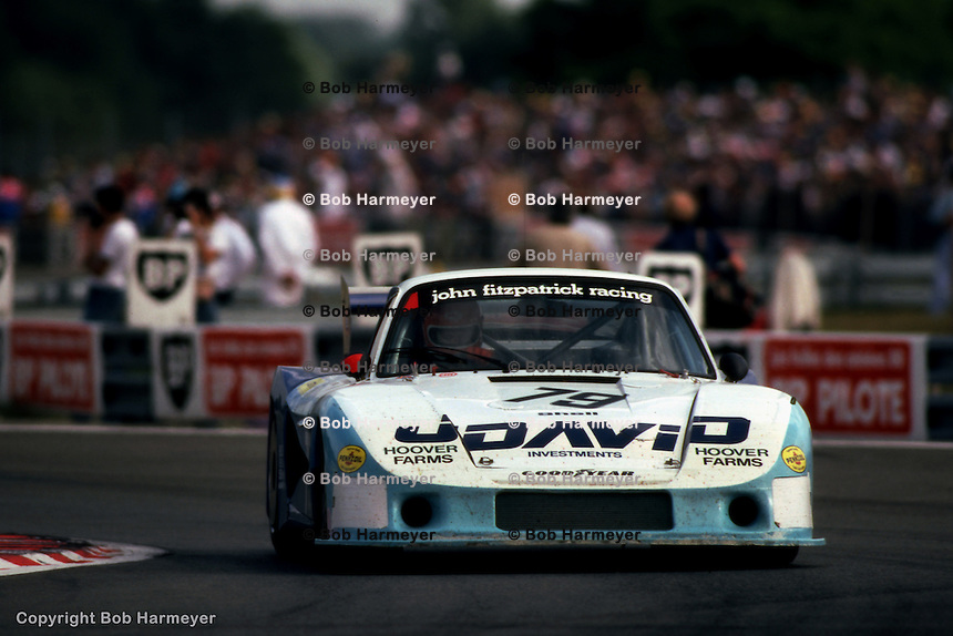 LE MANS, FRANCE: John Fitzpatrick drives the Porsche 935/78-81 JR-002 en route to finishing 4th in the 24 Hours of Le Mans with co-driver David Hobbs on June 20, 1982, at Circuit de la Sarthe in Le Mans, France.
