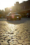 n.y.c., taxi ,cab ,old, cobblestone, street, ny, nyc, sunset,taxicab ,