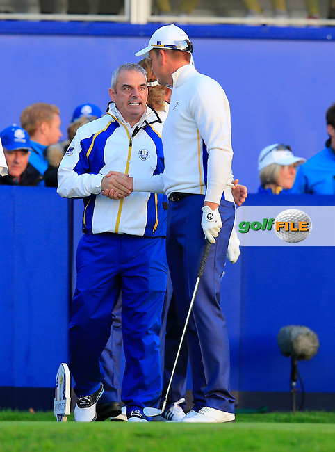 Paul McGinley and Henrik Stenson (EUR) during the Saturday morning Fourballs of the 2014 Ryder Cup at Gleneagles. The 40th Ryder Cup is being played over the PGA Centenary Course at The Gleneagles Hotel, Perthshire from 26th to 28th September 2014.: Picture Eoin Clarke, www.golffile.ie / www.golftouri,ages.com: \27/09/2014\
