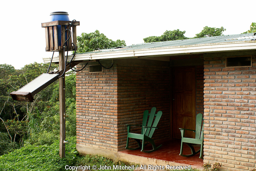 Solar powered hot water heater outside a guest cabin at Finca Esperaza Verde  near Matagalpa, Nicaragua