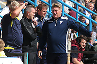 Gillingham's Assistant Manager, Paul Raynor, has words with the fourth official during Gillingham vs Burton Albion, Sky Bet EFL League 1 Football at The Medway Priestfield Stadium on 10th August 2019