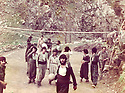 Iraq 1984 .In Surien ,recreation for the peshmergas playing volley-ball.Irak 1984  .Dans les montagnes a Surien, peshmergas jouant au volley-ball