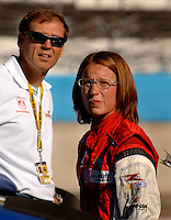 Nov 12, 2005; Avondale, Ariz, USA;  Nascar Busch Series driver Erin Crocker watches the times on the scoreboard with car owner Ray Evernham during qualifying for the Arizona 200 presented by Walk the Line at Phoenix International Raceway. Mandatory Credit: Photo By Mark J. Rebilas