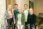 At the Launch of the  Kerry GAA & Horans Health Store  sponsorship event at the rose hotel on Monday front Charlie Ann Walsh, Alannah O'Connor, Aoife O'Connor back kerry stars Aidan O'Mahony and Padraig O'Connor