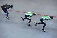 SCHAATSEN: HEERENVEEN: IJsstadion Thialf, 03-06-2013, training merkenteams op zomerijs, Freddy Wennemars, Linda de Vries, Ireen Wüst, ©foto Martin de Jong