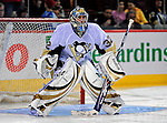 3 February 2009: Pittsburgh Penguins' goaltender Mathieu Garon warms up prior to facing the Montreal Canadiens at the Bell Centre in Montreal, Quebec, Canada. The Canadiens defeated the Penguins 4-2. ***** Editorial Sales Only ***** Mandatory Photo Credit: Ed Wolfstein Photo