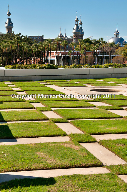 The Curtis Hixon Waterfront Park, with a view of the Henry B. Plant Museum in Tampa, Florida