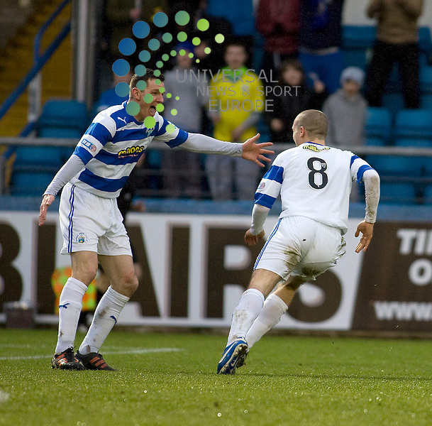 Michael Tidser(8) and Martin Hardie (10) of Greenock Morton celebtate Tidser goal during the Greenock Morton V Raith Rovers  Irn Bru Scottish First Division Match 2012-2013 at Cappielow Park, Greenock  .Picture: Campbell Skinner/Universal News And Sport (Scotland) 26th January 2013..