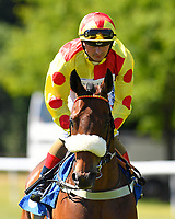 Rio Ronaldo ridden by Andrea Atzeni goes down to the start of The Inspire Foundation Veterans' Handicap   during Whitsbury Manor Stud Bibury Cup Day Racing at Salisbury Racecourse on 27th June 2018