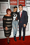 (Left to right) Senior VP Global Marketing for KISS Products Inc. Annette Goldstein,  singer and actress Teyana Taylor, and Chief Strategy Officer for KISS Products Inc. Paul Yang attend the press preview for KISS Products' first ever Pop Up Beauty Bar in New York City on September 28, 2017.