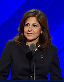 Near Tanden, President and CEO, Center for American Progress, makes remarks during the third session of the 2016 Democratic National Convention at the Wells Fargo Center in Philadelphia, Pennsylvania on Wednesday, July 27, 2016.<br /> Credit: Ron Sachs / CNP<br /> (RESTRICTION: NO New York or New Jersey Newspapers or newspapers within a 75 mile radius of New York City)