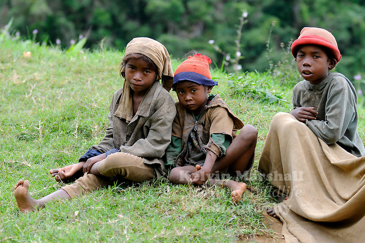 Young local Malagasy children begging for money. Moramanga - Central Madagascar.