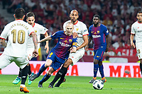 Sevilla FC Steven Mike Nzonzi and FC Barcelona Andres Iniesta during King's Cup Finals match between Sevilla FC and FC Barcelona at Wanda Metropolitano in Madrid, Spain. April 21, 2018. (ALTERPHOTOS/Borja B.Hojas)