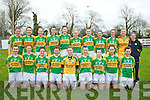 The Kerry ladies Team who defeated Waterford in The Ladies national Football League at Castleisland Desmond GAA Grounds on Sunday. Front l-r: Cait Lynch, Louise Ni Mhuircheartaigh, Cassandra Buckley, Patrice Dennehy, marie Quirke, Sarah Jane Joy, Sarah Houlihan, Ailing Desmond and may Okeeffe.Back l-r: Megan OConnell, Aoife Lyons, Julie Brosnan, Emma Sherwood, Lorraine Scanlon, Bernie Breen (capt), Louise Galvin, Deirdre Corridan, Elaine OConnor, Hannah Fortune and Gina Crowley...