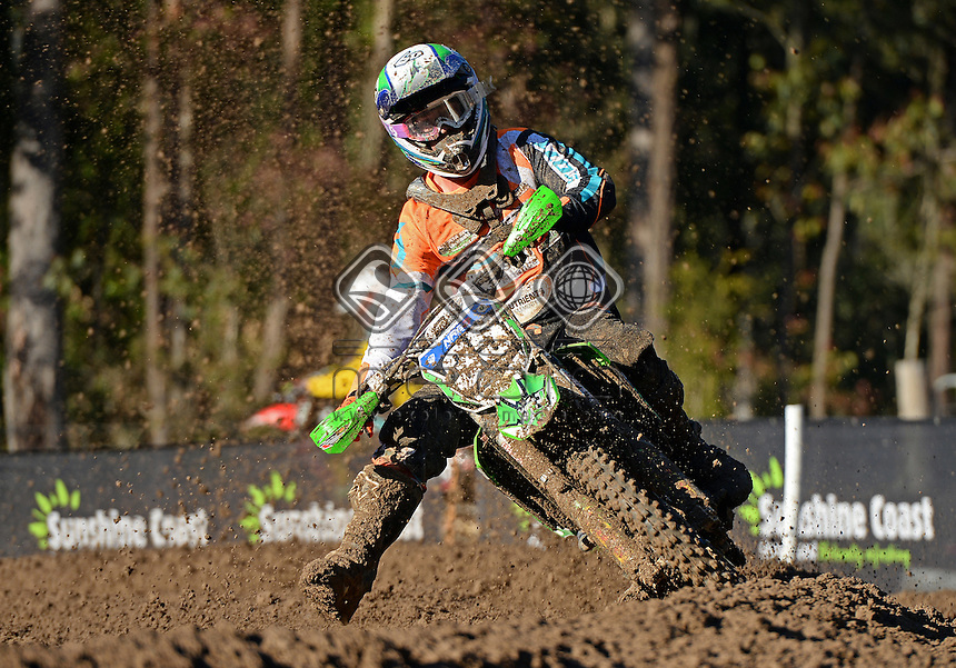Alex Morris / Kawasaki<br /> MX Nationals / Round 6 / MX2<br /> Australian Motocross Championships<br /> Raymond Terrace NSW<br /> Sunday 5 July 2015<br /> &copy; Sport the library / Jeff Crow