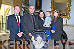 Baby Eric McKenna with his parents Paul & Carmel McKenna, Lyrecrompane, and god parents Billy McKenna & Emma Broderick and brother Ryan who was christened in Duagh Church by Fr. Pat Moore on Sunday last and afterwards at the Listowel Arms Hotel.