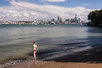 Auckland skyline seen from Bayswater, New Zealand North Island