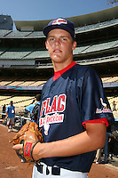 August 9 2008: Chad Thompson participates in the Aflac All American baseball game for incoming high school seniors at Dodger Stadium in Los Angeles,CA.  Photo by Larry Goren/Four Seam Images