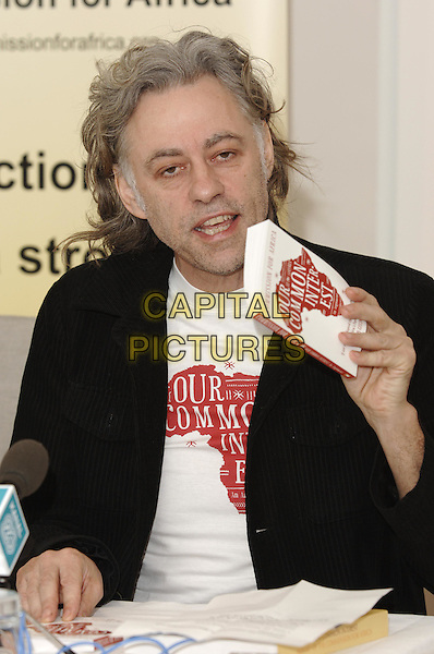 "Sir BOB GELDOF.At Press Launch for  Penguin published book ""Our Common Interest, The Comission for Africa: An Arguement"".(Bob is co-founder of LiveAid) .Penguin, 80 Strand, .London 9 June 2005.half length .Ref: PL.www.capitalpictures.com.sales@capitalpictures.com.© Phil Loftus/Capital Pictures."