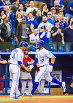 1 April 2016: Toronto Blue Jays outfielder Kevin Pillar rounds the bases after hitting a home run to lead off a pre-season exhibition series against the Boston Red Sox at Olympic Stadium in Montreal, Quebec, Canada. The Red Sox defeated the Blue Jays 4-2 in the first of two MLB weekend games, which saw an attendance of 52,682 at the former home on the Montreal Expos. Mandatory Credit: Ed Wolfstein Photo *** RAW (NEF) Image File Available ***