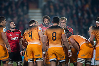 A scrum sets during the 2019 Super Rugby final between the Crusaders and Jaguares at Orangetheory Stadium in Christchurch, New Zealand on Saturday, 6 July 2019. Photo: Joe Johnson / lintottphoto.co.nz