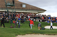 Jon Rahm (ESP) walks off the 18th green to cheers from the supporters during Round 4 of the Open de Espana 2018 at Centro Nacional de Golf on Sunday 15th April 2018.<br /> Picture:  Thos Caffrey / www.golffile.ie<br /> <br /> All photo usage must carry mandatory copyright credit (&copy; Golffile | Thos Caffrey)
