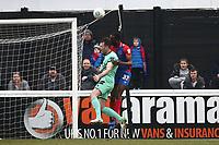 Emmanuel Onariase of Dagenham fouls Robbie Tinkler of Gateshead in the area to concede a penalty during Dagenham & Redbridge vs Gateshead, Vanarama National League Football at the Chigwell Construction Stadium on 16th February 2019