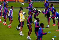 BOGOTA, COLOMBIA - JUNE 6: Players of the Colombian National Soccer Team, during a training session on June 6, 2019 in Bogota, Colombia. Colombia will face Peru on Sunday before they start their Copa America campaign where the team will face Argentina, Paraguay and Qatar on their first stage of the Copa America Brazil 2019. (Photo by VIEWPRESS/Leonardo Muñoz)