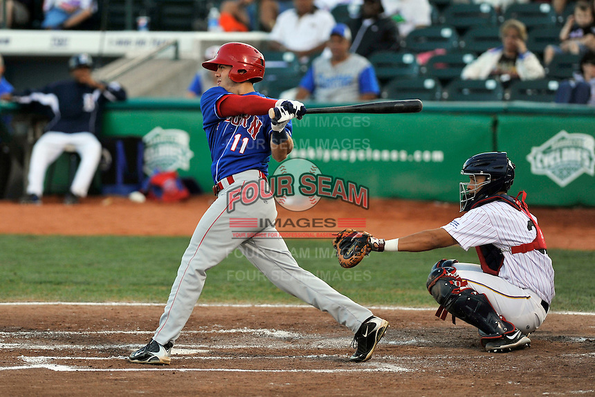 Auburn Doubledays outfielder Angelberth Montilla (13) during game against the Brooklyn Cyclones at MCU Park in Brooklyn, NY July 14, 2011. Cyclones won 2-0.  Photo By Tomasso DeRosa/ Four Seam Images