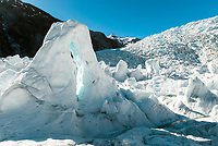 Beautiful icy features and arches on Franz Josef Glacier, Westland Tai Poutini National Park, West Coast, UNESCO World Heritage Area, New Zealand, NZ