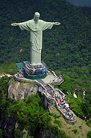 Rio de Janeiro, Brazil, October 2004. Corcovado Mountain and its famous statue of Christ the Redeemer, with incredible views over Rio. The bustling city of Rio de Janeiro has the famous beach of Copa Cabana as well as very poor people in favella's, slums.  Photo by Frits Meyst/Adventure4ever.com