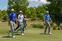 Jordan Spieth (USA), Wesley Bryan (USA), Jon Rahm (ESP), and Ryan Palmer (USA) head down 2 during Round 2 of the Zurich Classic of New Orl, TPC Louisiana, Avondale, Louisiana, USA. 4/27/2018.<br /> Picture: Golffile | Ken Murray<br /> <br /> <br /> All photo usage must carry mandatory copyright credit (&copy; Golffile | Ken Murray)