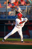 Auburn Doubledays center fielder Daniel Johnson (30) at bat during a game against the Williamsport Crosscutters on June 25, 2016 at Falcon Park in Auburn, New York.  Auburn defeated Williamsport 5-4.  (Mike Janes/Four Seam Images)