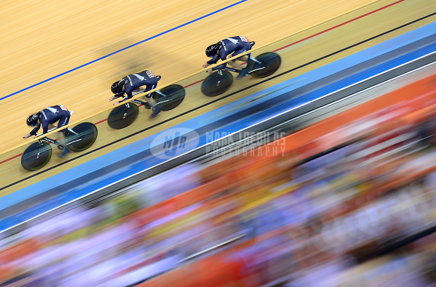 Aug 3, 2012; London , United Kingdom; New Zealand women's cyclists race during team pursuit qualifying at the London 2012 Olympic Games at Velodrome. Mandatory Credit: Mark J. Rebilas-USA TODAY Sports