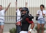 Lindenwood's Trey Parker runs in a third quarter touchdown as fans in the background celebrate.  Lindenwood hosted the St. Francis Fighting Saints Saturday afternoon.
