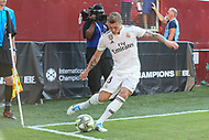 Landover, MD - August 4, 2018: Real Madrid midfielder Toni Kroos (8) kicks the corner kick during the match between Juventus and Real Madrid at FedEx Field in Landover, MD.   (Photo by Elliott Brown/Media Images International)