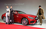 "March 14, 2016, Tokyo, Japan - Japanese designer Yu Amatsu of ""Hanae Mori manuscrit"" and models stand next to Mercedes-Benz new C-class coupe at Mercedes' showroom in Tokyo on Monday, March 14, 2016 as Mercedes introduces the new coupe model on Japanese market. Tokyo fashion week sponsored by Merceds Benz started here on March 14 and runs through to the 19th.  (Photo by Yoshio Tsunoda/AFLO) LWX -ytd-"