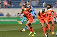 Bridgeview, IL - Saturday May 06, 2017: Julie Johnston Ertz, Amber Brooks during a regular season National Women's Soccer League (NWSL) match between the Chicago Red Stars and the Houston Dash at Toyota Park. The Red Stars won 2-0.