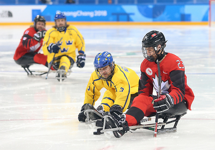 Pyeongchang, Korea, 10/3/2018-  Liam Hickey of Canada plays Sweden in hockey during the 2018 Paralympic Games in PyeongChang. Photo Scott Grant/Canadian Paralympic Committee.