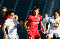 Rochester, NY - Friday June 17, 2016: Western New York Flash defender Elizabeth Eddy (4), Portland Thorns FC midfielder Tobin Heath (17) after a regular season National Women's Soccer League (NWSL) match between the Western New York Flash and the Portland Thorns FC at Rochester Rhinos Stadium.