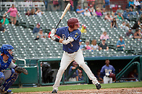 Frisco RoughRiders Josh Altman (5) bats during a Texas League game against the Midland RockHounds on May 21, 2019 at Dr Pepper Ballpark in Frisco, Texas.  (Mike Augustin/Four Seam Images)